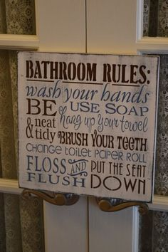 Bathroom Rules Wood Sign, Typography, Primitive, Rustic, Childrens Sign, Changing the Toilet Paper Roll. $18.95, via Etsy.
