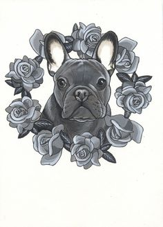 French Bulldog Tattoo Design , Frenchie Tattoo Design , sketchbook page by Jeroen Teunen , the Dog Painter.