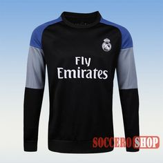 Track Top | Custom Casual Real Madrid Sweatshirt Black 2016 2017 Season Personalised Maker From China