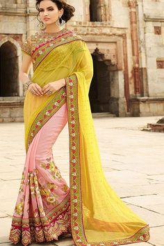 Light pink and lime yellow saree