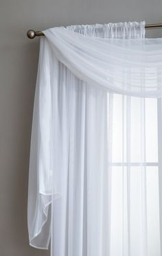Warm Home Designs Pair of White Sheer Curtains or Extra Long Window Scarf White Sheer Curtains, Voile Curtains, Window Curtains, Kitchen Curtains, Bay Window, Home Design, Interior Design, Window Scarf, Scarf Valance