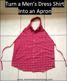 Learn how to make an apron from a button up men's shirt. An easy DIY project with minimal sewing. These make great presents or memorial-type gifts. #Apron #DIY