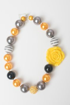 New to LaBellaRoseBoutique on Etsy: Yellow grey necklace bubblegum chunky necklace little girl necklace chunky baby necklace bubble gum 16 inch necklace baby necklace jewelry (9.95 USD)