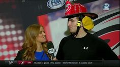 Dec. 12 @ Arizona: @VictorRask got the #Canes fireman's helmet and talked with @Meesh_McMahon after his OT winner.