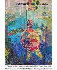 Seawell Sea Turtle Collage Pattern by Laura Heine. Features full sized pattern and complete step by step color photos and instruction on how to construct this colorful sea turtle collage. Sea Turtle Quilts, Laura Heine, Turtle Pattern, Animal Quilts, Sewing Art, Applique Quilts, Fabric Art, Mosaic Art, Quilting Designs
