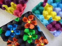 nice 3D looking flowers from egg cartons - paint