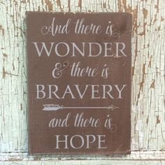 And there is wonder shabby brown and grey sign - Wall Decals, Home Decor, Onesies