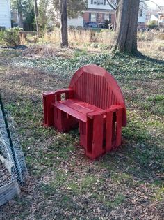 """Make the sides (under the arm rest) into a magazine holder with small shelf for remotes and that is a great """"throne"""" for a man cave!   Bench from salvaged table and pallets"""