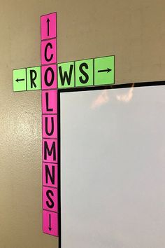 math This rows & columns bulletin board poster is a cute addition to ANY classroom! Free middle school math classroom decor that will help your students learn the difference between rows and col Teacher Hacks, Math Teacher, Teaching Math, Teacher Toolbox Labels, 2nd Grade Teacher, Teaching Ideas, Fourth Grade Math, 3rd Grade Classroom, Second Grade Math