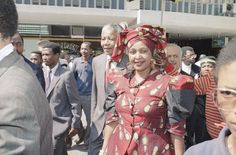Nelson Mandela's Life in Photos Winnie Mandela, African National Congress, African Traditional Dresses, Sculptural Fashion, Great Leaders, Nelson Mandela, Former President, African Fashion Dresses, My Hero