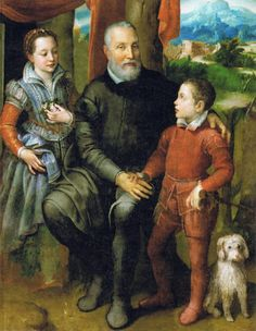 1557-1558 Sofonisba Anguissola - Group Portrait with the Artist's Father Amilcare, his Sister Minerva and his Son Asdrubale