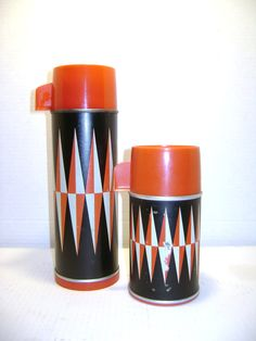 Vintage retro red black gray chevron thermos set by junquegypsy 22