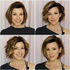 18 Fresh Layered Short Hairstyles for Round Faces - Short Hair Cuts For Round Faces, Bob Hairstyles For Round Face, Blonde Bob Hairstyles, Short Bob Haircuts, Short Hair With Layers, Quick Hairstyles, Ladies Hairstyles, Hairstyles 2018, Layered Short Hair