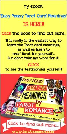 Do you want a speedy way to use the Tarot to solve your current dilemma? Or to impress your friends with awe-inspiring Tarot readings next week? My book gives you that in spades - you really oughta read it ;-)... http://tarotromance.com/easy-peasy-tarot-card-meanings-the-ebook/ #tarotcardmeaning