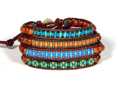 Bead Loom Leather Wrap Friendship Bracelet in blue, blue green, green yellow or coral  Three variations of the same basket weave pattern in Japanese seed beads, 11/0, with golden bayong wood beads. Choose blue (with coral), green (with yellow), turquoise (blue and green) and orange (coral