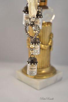 Mammabellarte: CHERISH, DREAMS,BLISS Solder bottle charm Rhinestones, pearl, silver glitter