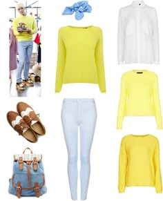 "[Requested by Anonymous] Outfit inspired by SHINee's Jonghyun in ""Colorful"" MV More Outfit on I Dress Kpop Get The Look : Oxfords Backpack Blue Scrunchy Yellow Sweater Blue Pants Blouse Other Yellow Sweater And Another one !  I gave you choices as you seemed to reaaally want a yellow sweater ! This outfit makes me think about easter eggs ! :D"