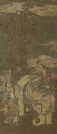 Sakyamuni on an Elephant 16th-17th century Su Hanchen , (Chinese, active early to mid-12th century)  Ming dynasty  Ink and color on silk H: 189.3 W: 81.4 cm  China