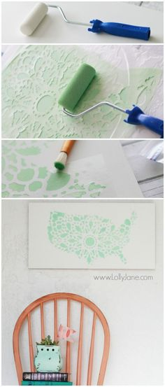Pretty mint stencil United States sign, easy home decor tutorial. @Lolly Jane {lollyjane.com} http://www.cuttingedgestencils.com/charlotte-allover-stencil-pattern.html