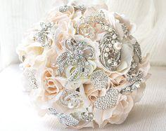 Blush Silk Rose Bridal Bouquet, Brooch Bouquet, Wedding Brooch Bouquet, Jewelry Bouquet, Crystal Accents, Bridesmaid Bouquet, Wedding WBQ5