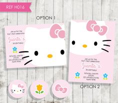 Hello Kitty Birthday Invitation Invitación por CreativaDesignCo