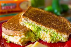 Hot Habanero Cheddar Grilled Cheese with Guacamole and Roasted Peppers.