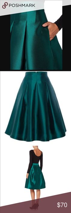 Eliza J deep green midi skirt. Emerald green skirt- perfect piece for an event. I'm perfect condition. Worn once on Christmas. Bought in new/good condition from other posher. Love this skirt so much!!! Eliza J Skirts Midi
