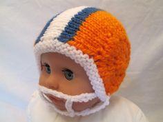 Handknit New Born Football Helmet Ready to ship by Ritaknitsall, $30.00