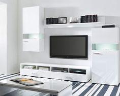HIGH GLOSS WHITE Design Living Room | Modern New Furniture Set DESERT BRW