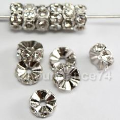 12 pcs Swarovski Crystal 6mm 4720 Rondelle Silver spacer Finding w Clear Crystal beads