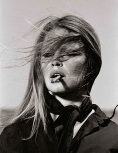 Sexy, windswept Brigitte Bardot, captured in a sublime moment by Terry O'Neil.