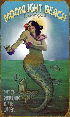 Mermaid In The Moonlight Mar Ninfa Ocean Beach Cartel Vintage * Canvas * Art Print Mermaid Sign, Mermaid Art, Mermaid Poster, Mermaid Canvas, Mermaid Quotes, Mermaid Paintings, Real Mermaids, Mermaids And Mermen, Fantasy Mermaids