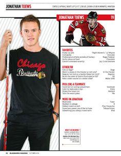 Jonathan Toews Blackhawks Magazine feature