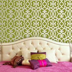 Cheiz Sheik Moroccan Stencil- this is going to look A-MA-ZING under Livi's chair rail!! Can't wait for it to arrive!