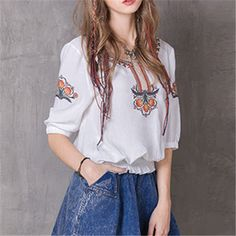 Brand Women Blusas Vintage Boho Ethnic Embroidery Women Blouse Shirts Half Sleeve Tops Tunic White Vintage Casual Shirt