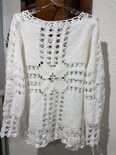 Crochet Woman, Love Crochet, Beautiful Crochet, Crochet Lace, Crochet Shirt, Crochet Cardigan, Crotchet Patterns, Crochet Fashion, Jumpers For Women
