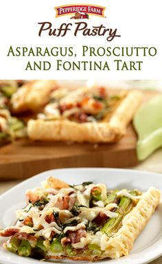 Planning an Easter Brunch? Spring into action with this vibrant tart. Puff pastry sheets make the perfect crust for this savory tart that features asparagus, prosciutto and lots of melted fontina cheese. Fish Recipes, Whole Food Recipes, Chicken Recipes, Easter Appetizers, Appetizer Recipes, Puff Pastry Recipes, Puff Pastries, Pepperidge Farm Puff Pastry, Tapas