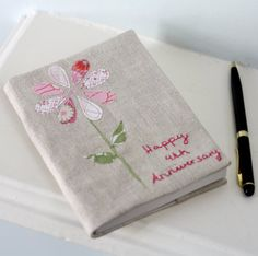 A5 Personalized Notebook Made from Vintage Linen