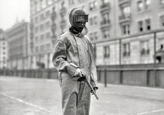In the 1908 Olympics pistol dueling was featured as an associate event. The contestants used wax bullets and wore metal helmets for protection.... Precursor to paintball?