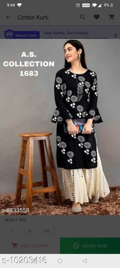 Checkout this latest Kurta Sets Product Name: *Women's Printed Office Wear Kurta Set with Sharara* Kurta Fabric: Rayon Bottomwear Fabric: Rayon Fabric: Rayon Set Type: Kurta With Bottomwear Bottom Type: Sharara Pattern: Printed Multipack: Single Sizes: L (Bust Size: 40 in, Kurta Length Size: 44 in, Bottom Waist Size: 30 in, Bottom Length Size: 37 in)  Easy Returns Available In Case Of Any Issue   Catalog Rating: ★4 (306)  Catalog Name: Women Rayon Straight Printed Long Kurti With Palazzos CatalogID_1846096 C74-SC1003 Code: 316-10203416-1161