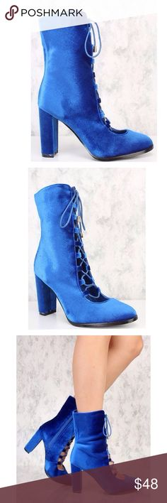 Royal Blue Velvet Lace Up Chunky Booties!  Brand new in a box!  Worth every ! Wear these sexy lace up booties with a sweater dress or shorts! The features includes a bold color along with a velvet texture for more style, pointy toe, lace up tie,an inner side zipper, cushion foot-bed, and finished off with a smooth finish comfort. Approximately 4 1/2 chunky heel. Shoes Lace Up Boots