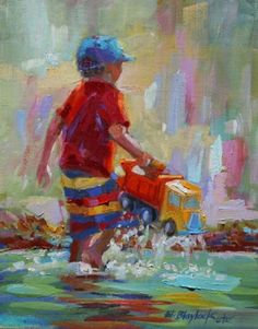 BOY WITH TOY TRUCK AT THE BEACH, painting by artist Elizabeth Blaylock
