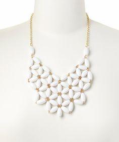 White Daisy Bead Bib Necklace