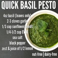 Pesto recipe from Diane Sanfilippo of Balanced Bites. I think it would be fab with walnuts instead of sunflower seeds too. Dairy Free Pesto, Dairy Free Recipes, Real Food Recipes, Vegetarian Recipes, Cooking Recipes, Healthy Recipes, Paleo Pesto, Gluten Free, Turkey Lettuce Wraps