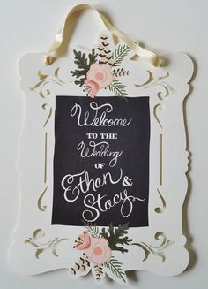 From BravoBride.com - This chalkboard inspired wedding sign is hand painted by Etsy shop, The First Snow, and then digitally converted for printing.