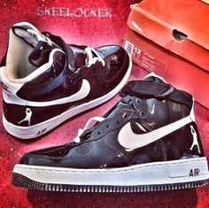 buy online 7e481 236f5 SkeeLocker 107365 Air Force 1 High Sheed Patent Leather blackwhite