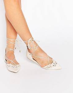 Image 1 of ALDO Harmony Nude Laser Cut Ghillie Lace Up Flat Shoes