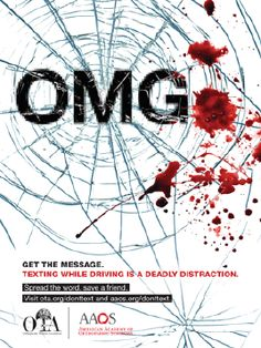 this image implies an accident and does it in a cool way as it incorporates the common text OMG the blood looks real and well splatted.