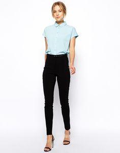 Image 1 - ASOS - Pantalon skinny taille haute avec ceinture