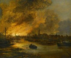 artandinterest:  Aert Van Der Neer  A River Landscape at Night with a Rowing Boat, a Burning City beyond   1652  Oil on Panel, 36.8 x 45.1 cm    In 1652 Van Der Neer witnessed the fire which consumed the old town-hall of Amsterdam. He made this accident the subject for two or three pictures, now in the galleries of Berlin and Copenhagen. Though Amsterdam appears to have been constantly Van Der Neer's domicile, his pictures tell that he was well acquainted with the canals and woods about…